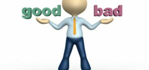 """vector image of guy holding up the word """"good' on one side of him and the word """"bad"""" on the other side of him."""