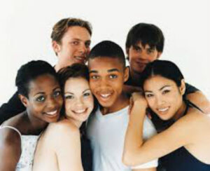 Trust the true happy people.  Group of all ethnic backgrounds happy people.