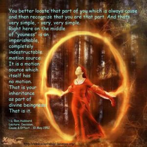 Yes, the soul is in control.  Image of woman standing with electricity encircling her.  With words by L. Ron Hubbard.