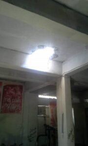 Bomb made a hole in the ceiling.