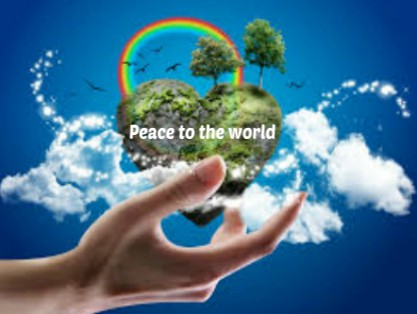 heart shaped paradise earth, peace to the world text.