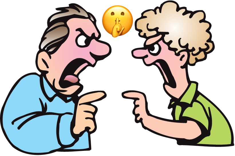 cartoon of two guys fighting.  Secret emoji between them is how to resolve the conflict