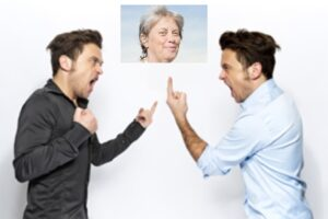 how to resolve conflicts, two brothers fighting with Mom who started the conflict.
