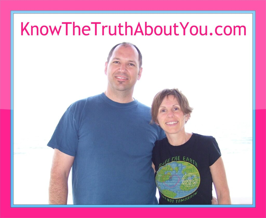 image of Chris and Kelly Watkins with at home life improvement tools and the website we run  know the truth about you