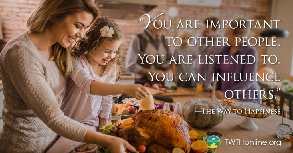 """mother and daughter fixing a turkey, words say """"you are important to other people.  You are listened to.  You can influence others.""""  The Way to Happiness."""